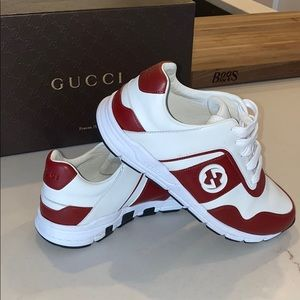 Gucci white and red leather sneakers